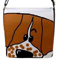 Peeping Brittany Spaniel Flap Messenger Bag (S)
