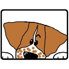 Peeping Brittany Spaniel Double Sided Fleece Blanket (Large)