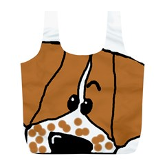 Peeping Brittany Spaniel Full Print Recycle Bags (L)