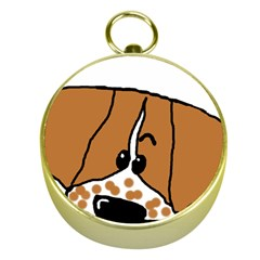 Peeping Brittany Spaniel Gold Compasses