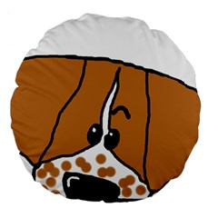 Peeping Brittany Spaniel Large 18  Premium Flano Round Cushions