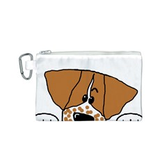Peeping Brittany Spaniel Canvas Cosmetic Bag (S)