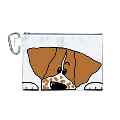Peeping Brittany Spaniel Canvas Cosmetic Bag (M)