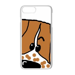 Peeping Brittany Spaniel Apple iPhone 7 Plus White Seamless Case
