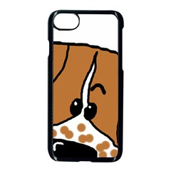 Peeping Brittany Spaniel Apple iPhone 7 Seamless Case (Black)