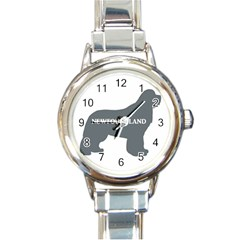 Newfie Name Silo Grey Round Italian Charm Watch