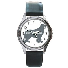 Newfie Name Silo Grey Round Metal Watch