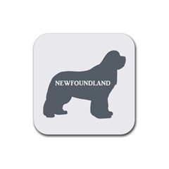 Newfie Name Silo Grey Rubber Coaster (Square)