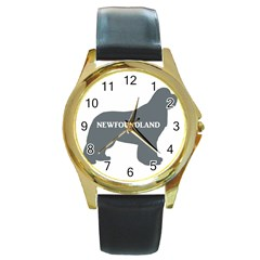 Newfie Name Silo Grey Round Gold Metal Watch
