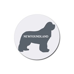 Newfie Name Silo Grey Rubber Round Coaster (4 pack)