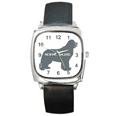 Newfie Name Silo Grey Square Metal Watch