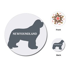 Newfie Name Silo Grey Playing Cards (Round)