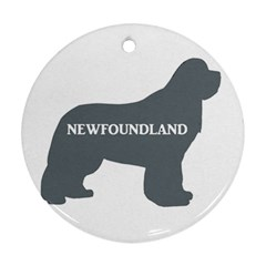 Newfie Name Silo Grey Round Ornament (Two Sides)
