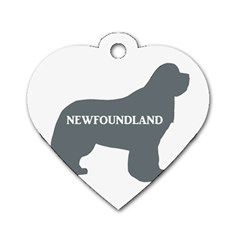 Newfie Name Silo Grey Dog Tag Heart (Two Sides)