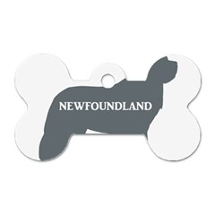 Newfie Name Silo Grey Dog Tag Bone (Two Sides)