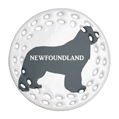 Newfie Name Silo Grey Round Filigree Ornament (Two Sides)