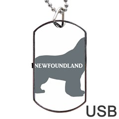 Newfie Name Silo Grey Dog Tag USB Flash (Two Sides)