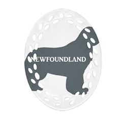 Newfie Name Silo Grey Oval Filigree Ornament (Two Sides)