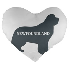 Newfie Name Silo Grey Large 19  Premium Heart Shape Cushions