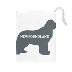 Newfie Name Silo Grey Drawstring Pouches (Large)