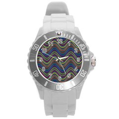 Decorative Ornamental Abstract Round Plastic Sport Watch (L)