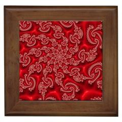 Fractal Art Elegant Red Framed Tiles