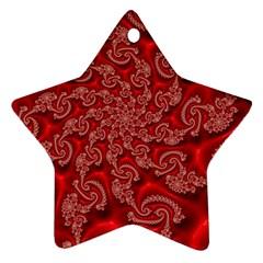 Fractal Art Elegant Red Ornament (Star)
