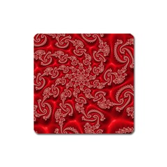 Fractal Art Elegant Red Square Magnet