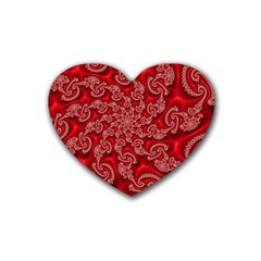 Fractal Art Elegant Red Rubber Coaster (heart)