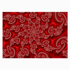 Fractal Art Elegant Red Large Glasses Cloth (2-Side)