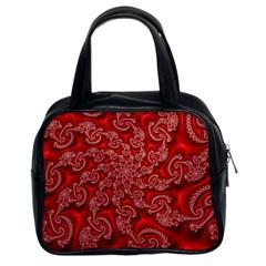 Fractal Art Elegant Red Classic Handbags (2 Sides)