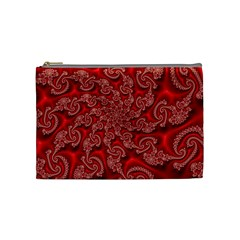 Fractal Art Elegant Red Cosmetic Bag (Medium)