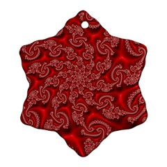 Fractal Art Elegant Red Snowflake Ornament (Two Sides)