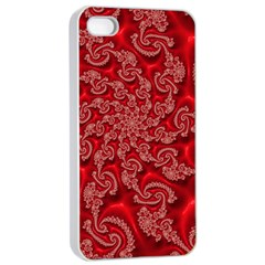 Fractal Art Elegant Red Apple iPhone 4/4s Seamless Case (White)