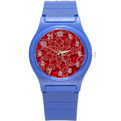 Fractal Art Elegant Red Round Plastic Sport Watch (S)
