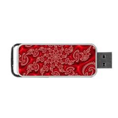 Fractal Art Elegant Red Portable USB Flash (One Side)