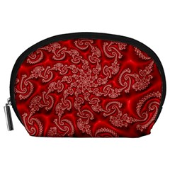 Fractal Art Elegant Red Accessory Pouches (Large)