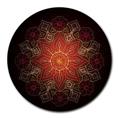 Floral Kaleidoscope Round Mousepads