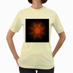 Floral Kaleidoscope Women s Yellow T-Shirt