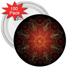 Floral Kaleidoscope 3  Buttons (100 pack)