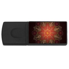 Floral Kaleidoscope USB Flash Drive Rectangular (2 GB)
