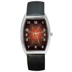 Floral Kaleidoscope Barrel Style Metal Watch