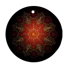 Floral Kaleidoscope Round Ornament (Two Sides)