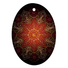 Floral Kaleidoscope Oval Ornament (Two Sides)