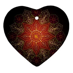 Floral Kaleidoscope Heart Ornament (Two Sides)