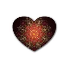 Floral Kaleidoscope Rubber Coaster (Heart)