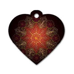 Floral Kaleidoscope Dog Tag Heart (Two Sides)
