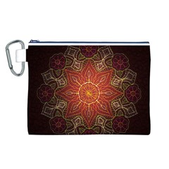 Floral Kaleidoscope Canvas Cosmetic Bag (L)