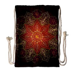 Floral Kaleidoscope Drawstring Bag (Large)