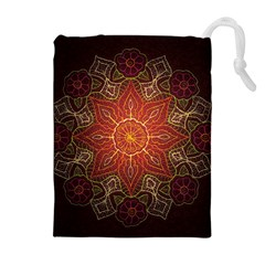Floral Kaleidoscope Drawstring Pouches (Extra Large)